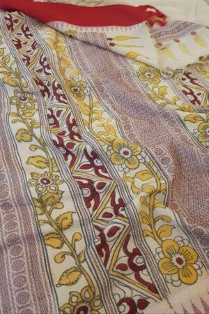 beige with red border cotton with silk border kalamkari1