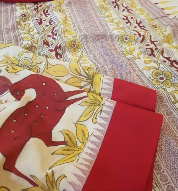 beige with red border cotton with silk border kalamkari2