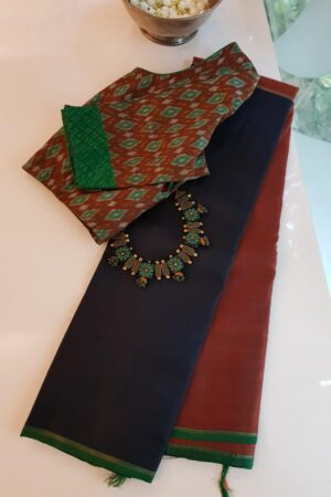 black and rust half and half kanchipuram silk saree