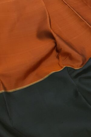 black and rust half and half kanchipuram silk saree2