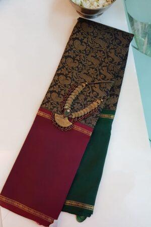 black kanchipuram silk saree with ganga jamuna border