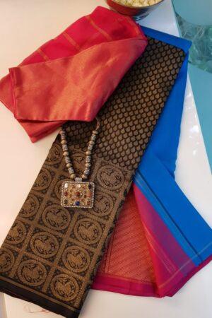 blue and black half and half kanchipuram silk saree