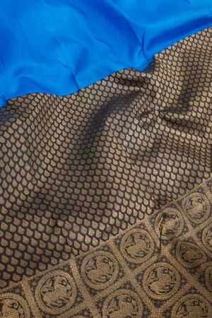 blue and black half and half kanchipuram silk saree3