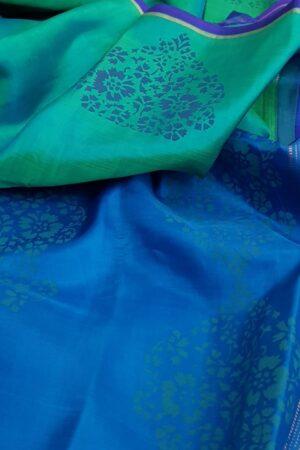 blue and green printed silk saree
