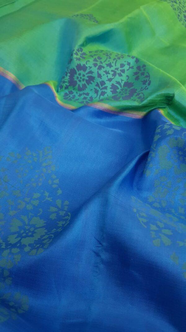 blue and green printed silk saree2