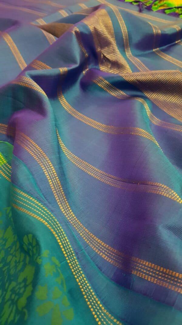 blue and green printed silk saree3