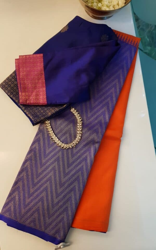 blue and orange half and half kanchipuram silk saree