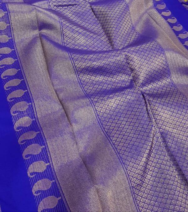 blue and orange half and half kanchipuram silk saree1