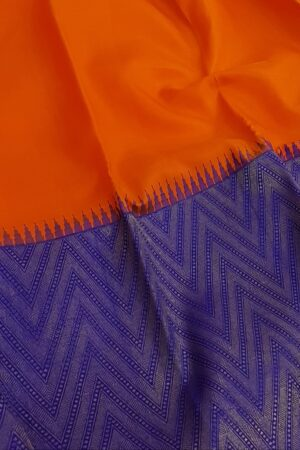 blue and orange half and half kanchipuram silk saree3