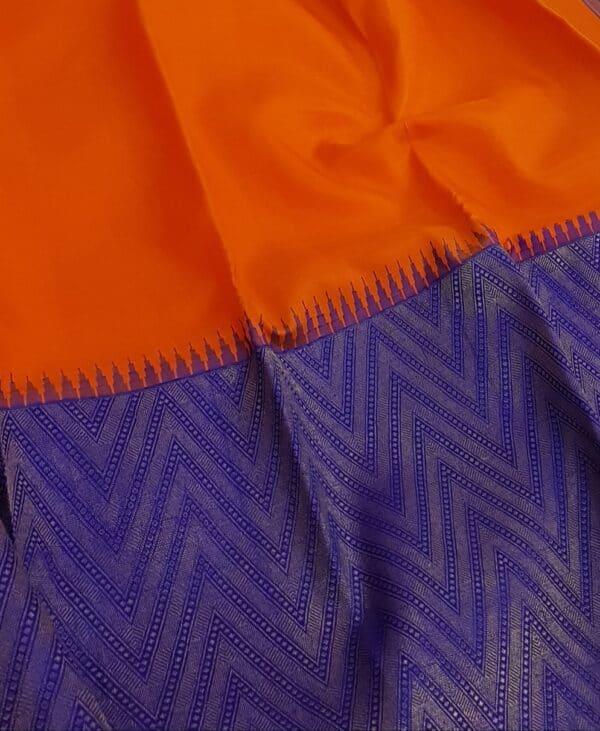 blue and orange half and half kanchipuram silk saree3