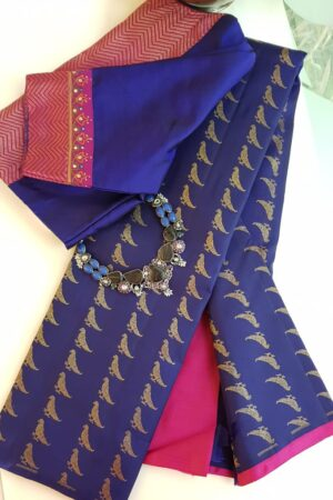 blue kanchi silk saree with birds