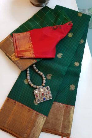 bottle green thread jacquard silk saree