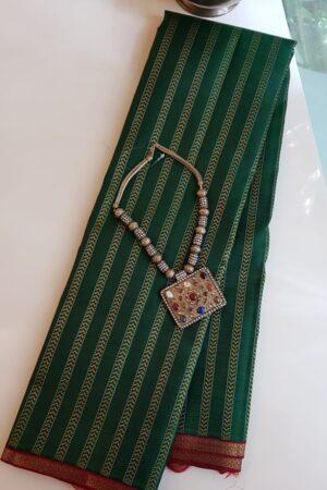 bottle green with maroon border kanchi silk saree