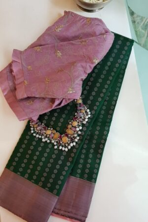 bottle green with mauve border kanchipuram silk saree