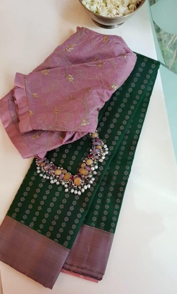 bottle green with mauve border kanchipuram silk saree