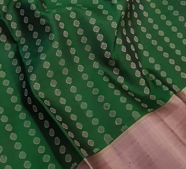 bottle green with mauve border kanchipuram silk saree1