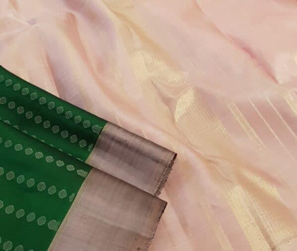 bottle green with mauve border kanchipuram silk saree2 -