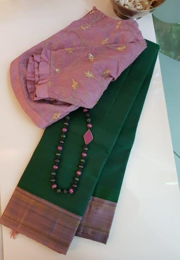 bottle green with mauve border silk saree