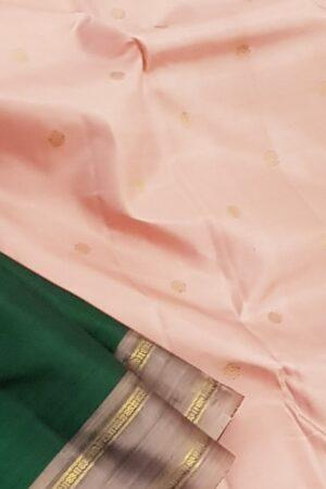 bottle green with mauve border silk saree2