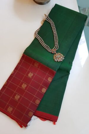 bottle green with one side border kanchi silk saree