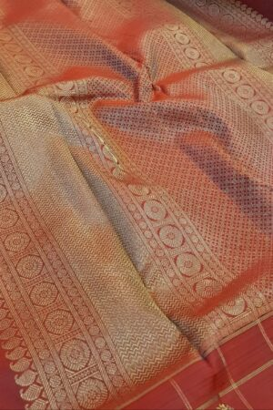 bottle green with one side border kanchi silk saree.1
