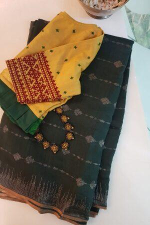 green soy silk saree