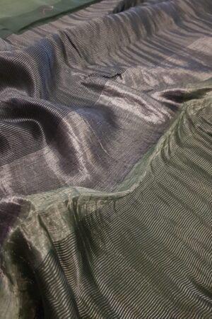 green soy silk saree1