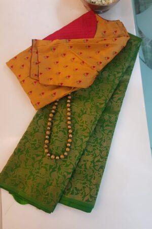 green vanasingaram kanchi silk saree