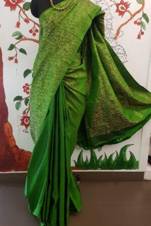 green vanasingaram kanchi silk saree3