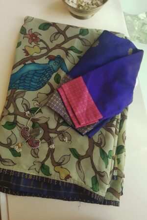 ice cream chiffon saree with kalamkari