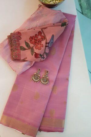 light pink kanchipuram silk saree