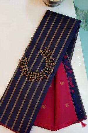 navy blue kanchi silk saree with arakku pallu