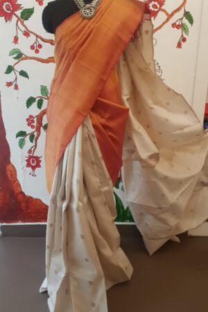 off white and peach shoulder saree