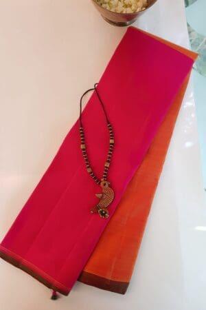 pink and orange half and half kanchipuram silk saree