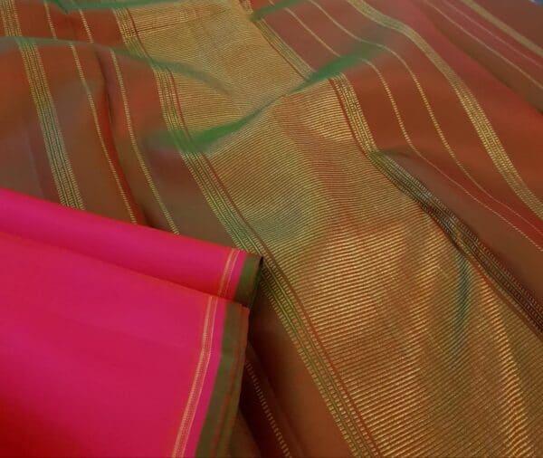 pink and orange half and half kanchipuram silk saree2