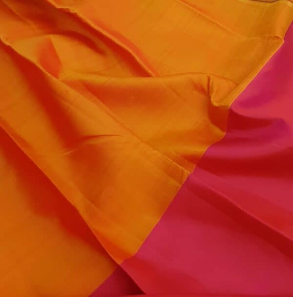 pink and orange half and half kanchipuram silk saree3