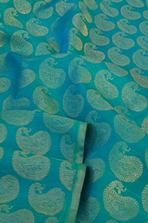 teal and mustard half and half kanchi silk saree2