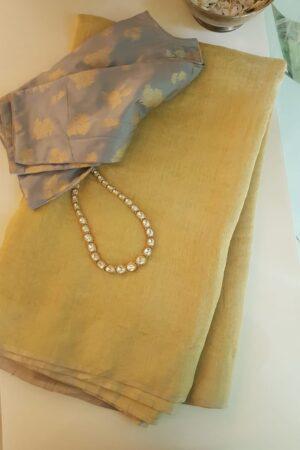yellow soy silk saree