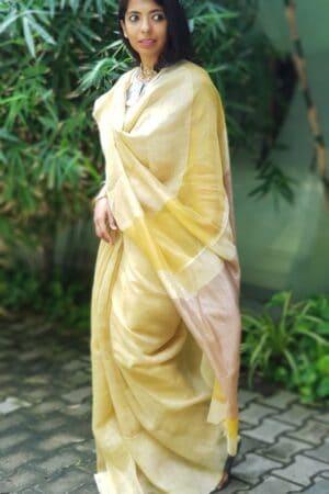 yellow soy silk saree4