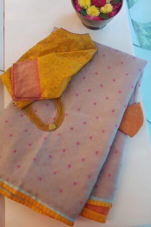 Beige organza saree with basket weave