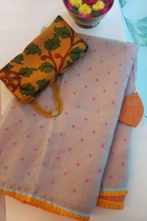 Beige organza saree with basket weave1