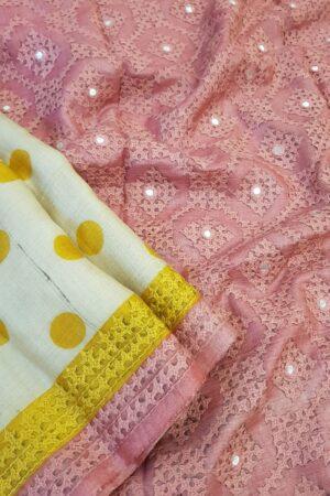 Beige tussar saree with polka dots and kutch work border1