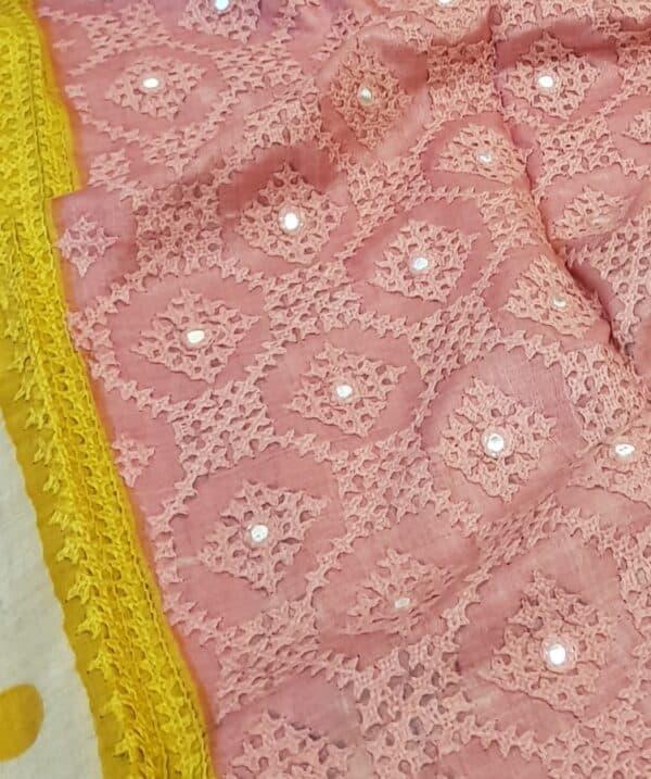 Beige tussar saree with polka dots and kutch work border3