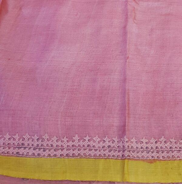Beige tussar saree with polka dots and kutch work border4