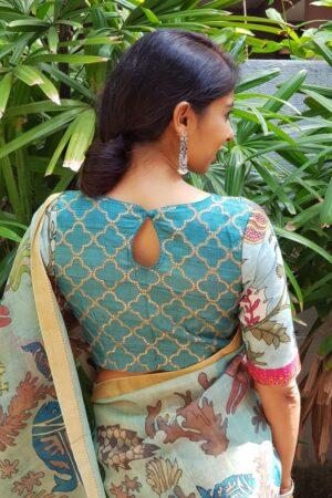 Blue tussar kalamkari blouse1