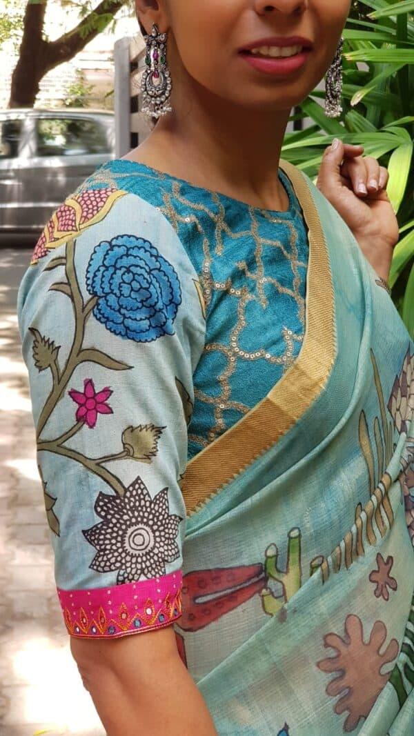 Blue tussar kalamkari blouse2