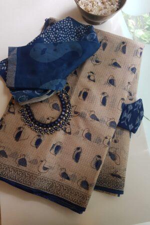 Indigo blue chidiya saree2