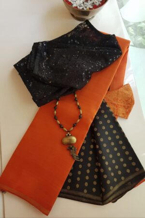 Orange with black pallu