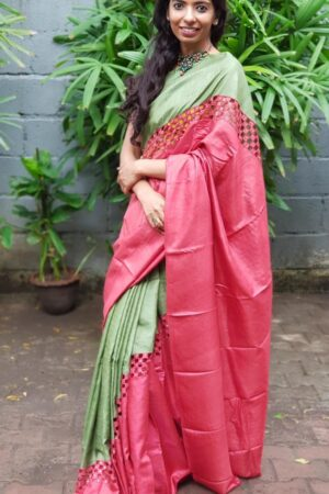 Red and green rising border cutwork saree