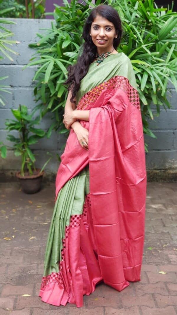 Red and green rising border cutwork saree